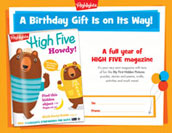 High Five Certificate Birthday Gift Announcement