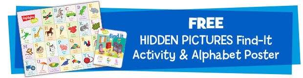 "2 Free gifts including Alphabet Poster and ""Find-it"" Activities"