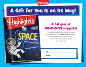 Highlights Certificate Anytime Gift Announcement