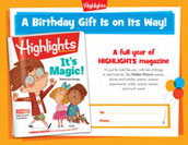 Highlights Certificate Birthday Gift Announcement