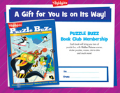 Puzzle Buzz Certificate Holiday Gift Announcement
