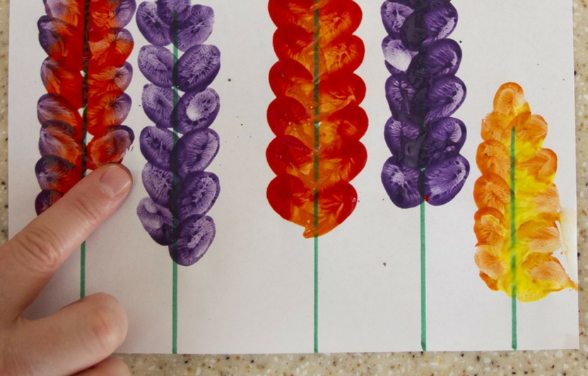This hands-on painting activity is an easy and fun way to get creative! Try mixing colors and painting different sized flowers.