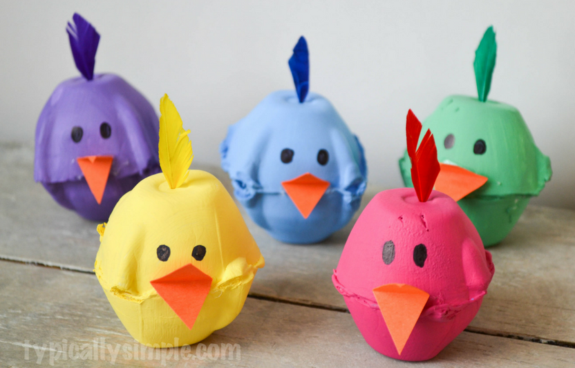 Recycle empty egg cartons to create these adorable baby chicks. Chirp, chirp!