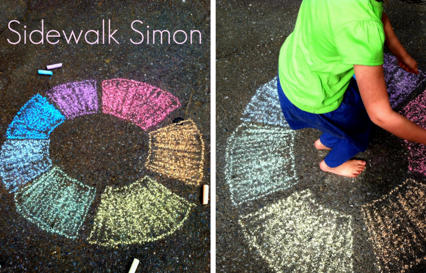 Get your kids up and moving with this life-sized sidewalk Simon game.
