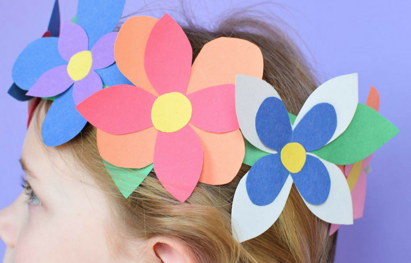 Create a whimsical flower headpiece that the kids can wear for pretend play again, and again!