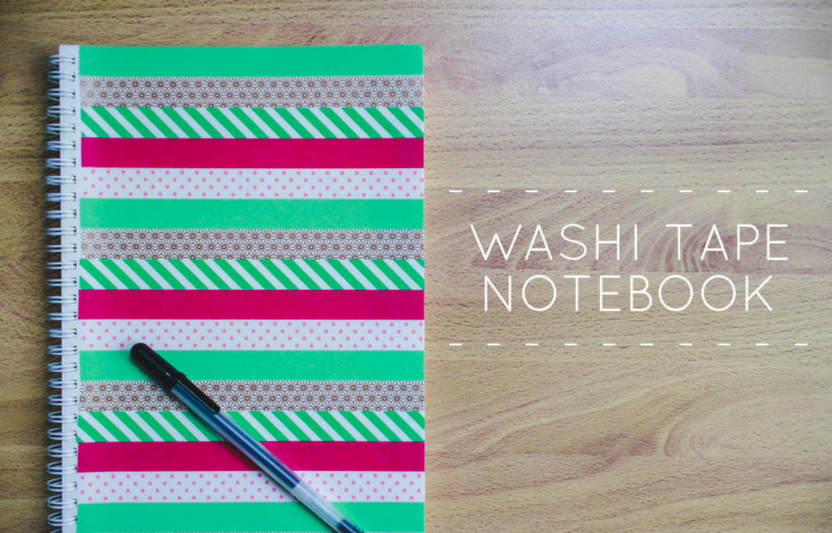 Use washi tape to change a bland notebook cover into a colorful collage!