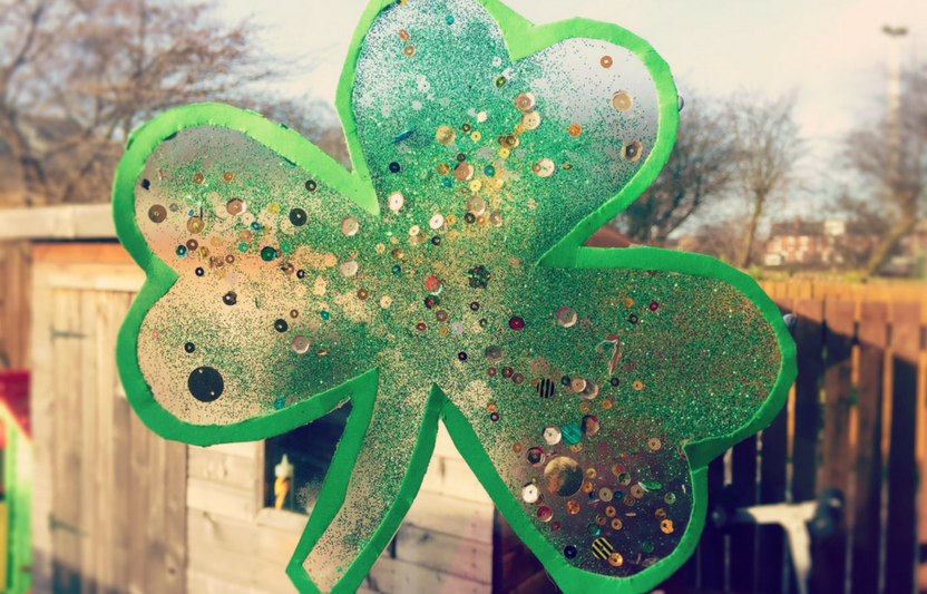 Bask in the spring sunshine with this shamrock-shaped suncatcher.