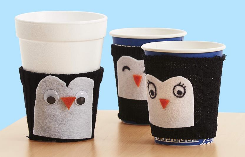 A cute craft and a science lesson all-in-one, this fuzzy penguin can help keep your kiddos hot cocoa warm!