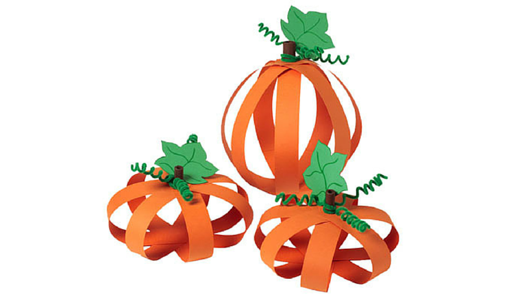 Let them transform two-dimensional paper into three-dimensional pumpkins to decorate the kid's table.