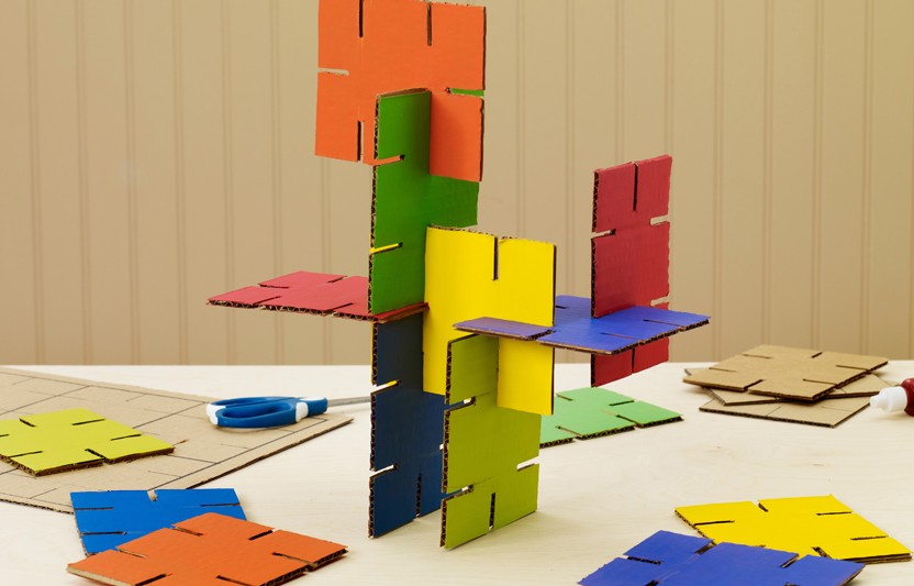 These interlocking cards are simple to craft and have lots of construction possibilities. They're also super portable (hello, playdate!). So encourage your budding architect to measure, cut, and build!
