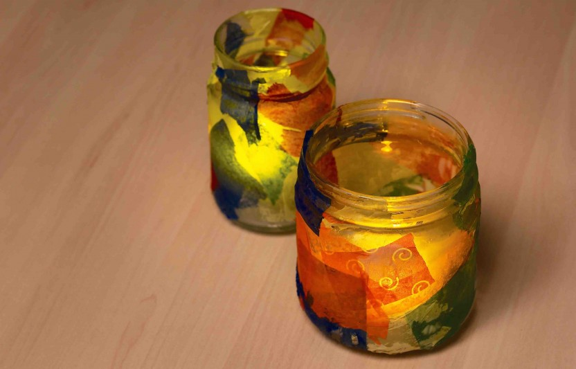 Try these colorful candle holders that will help you and your kids set the holiday mood.