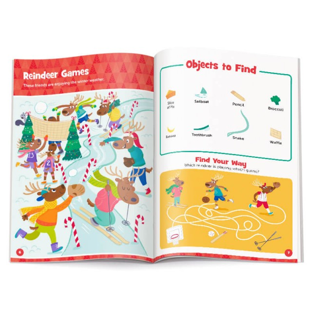 Pages of a reindeer-themed scene with accompanying maze puzzle