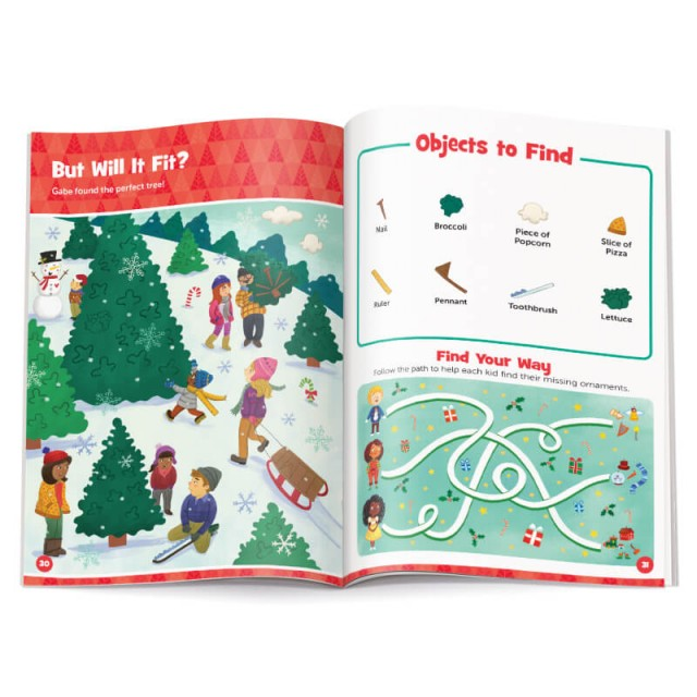 Pages of a snowy Christmas scene with accompanying maze puzzle