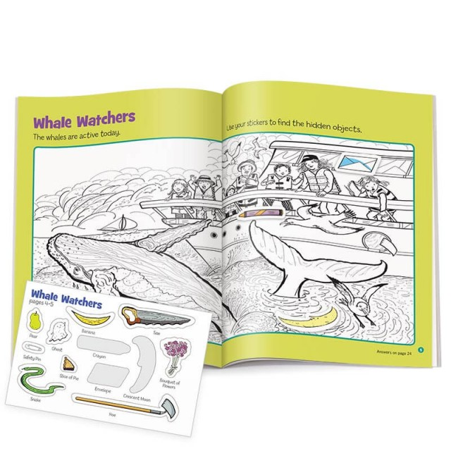 Two-page puzzle scene of whale watchers with sticker sheet