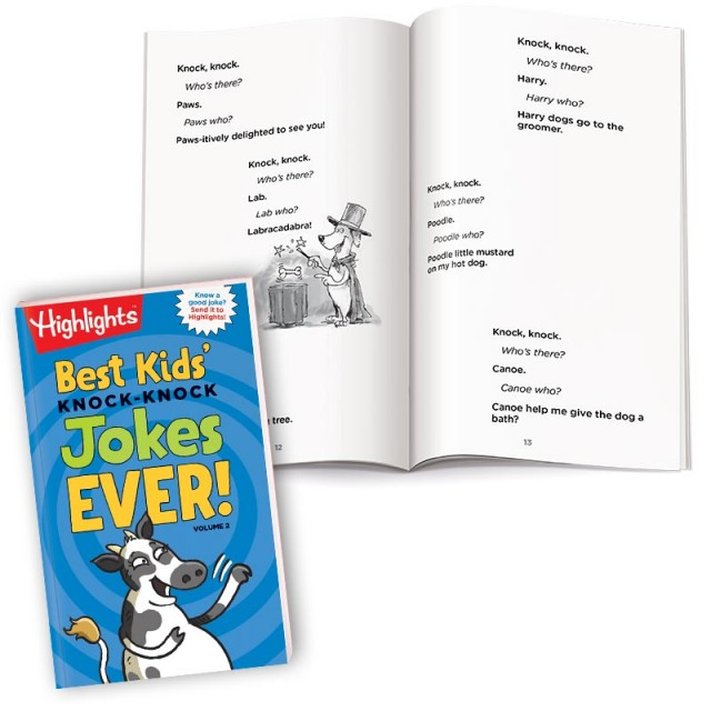 Best Kids' Knock Knock Jokes Ever Volume 2 book with pages of dog-themed jokes and illustrations