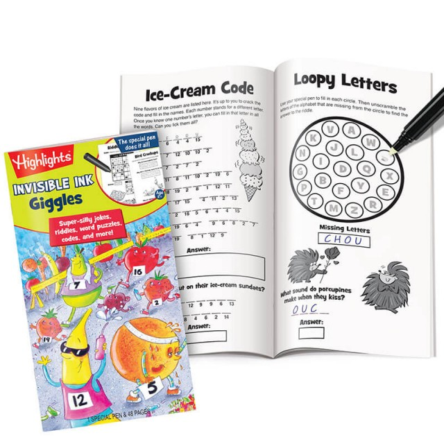 Invisible Ink Giggles book with pages of word puzzles