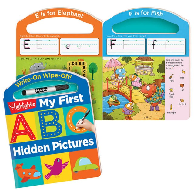 My First Write-On Wipe-Off ABC Board Book with dry erase marker and pages of alphabet activities
