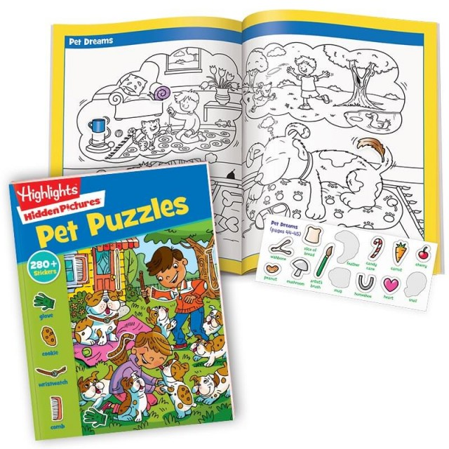 Hidden Pictures Pet Puzzles book with 2-page Pet Dreams scene and sticker sheet