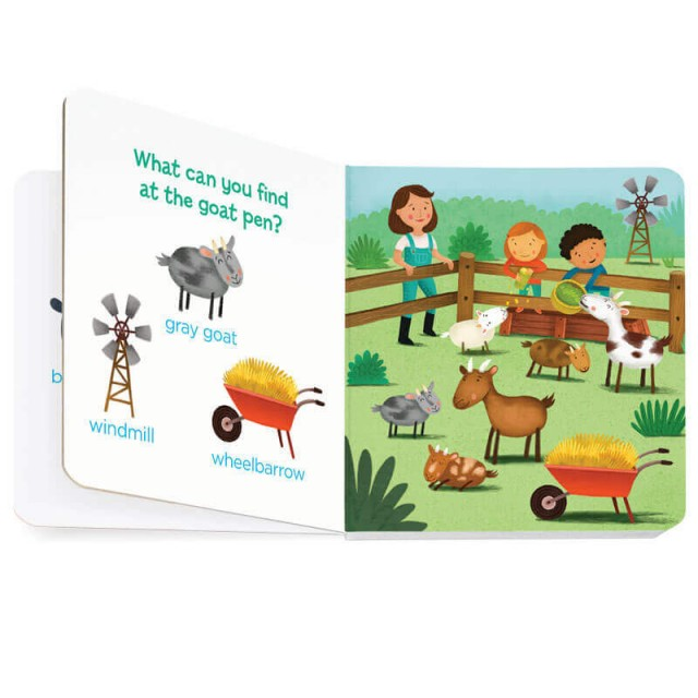Goat pen scene with goat, windmill and wheelbarrow to find