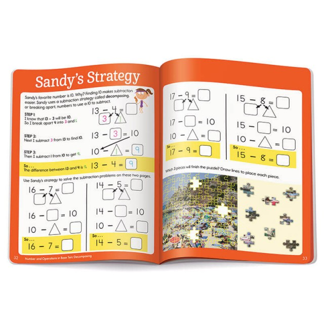 Some subtraction strategy examples and a jigsaw puzzle scene