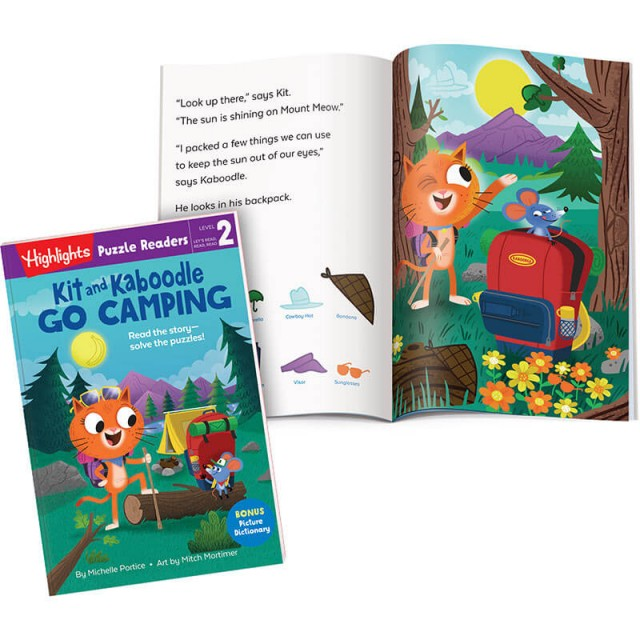 Kit and Kaboodle Go Camping book plus a Hidden Pictures scene from the story