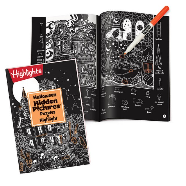 Halloween HIDDEN PICTURES Puzzles to Highlight book, with marker and puzzle scenes