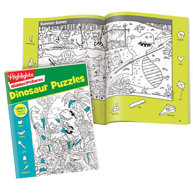 Hidden Pictures Dinosaur Puzzles book and 2-page scene of dinosaur summer games