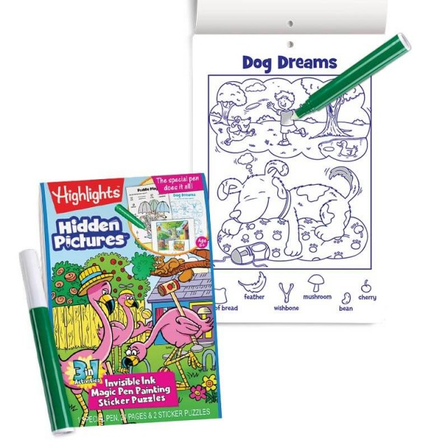 Hidden Pictures 3-in-1 Invisible Ink book with dog-themed scene and invisible ink marker