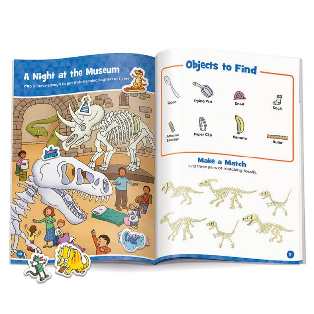 A Night at the Museum puzzle with stickers and matching game