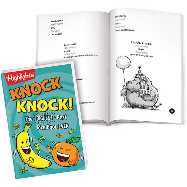 Knock Knock! book and page of illustrated knock knock jokes