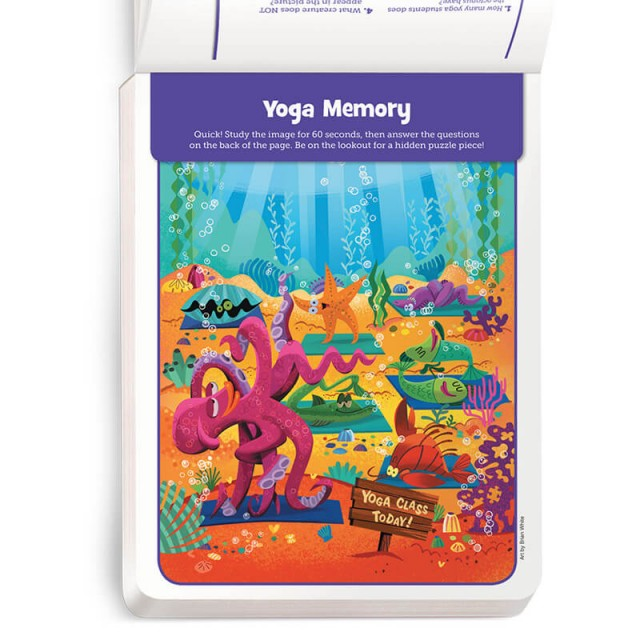A memory game set in an undersea yoga class