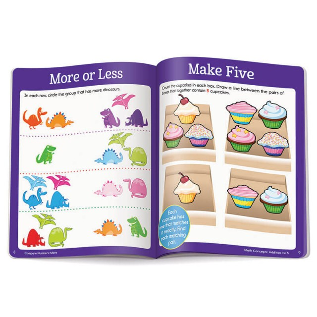 "A dinosaur puzzle for learning ""more"" and ""less"" and a cupcake puzzle for counting to 5"