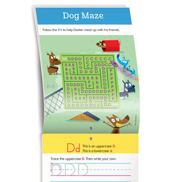 A maze with dogs and the letter D