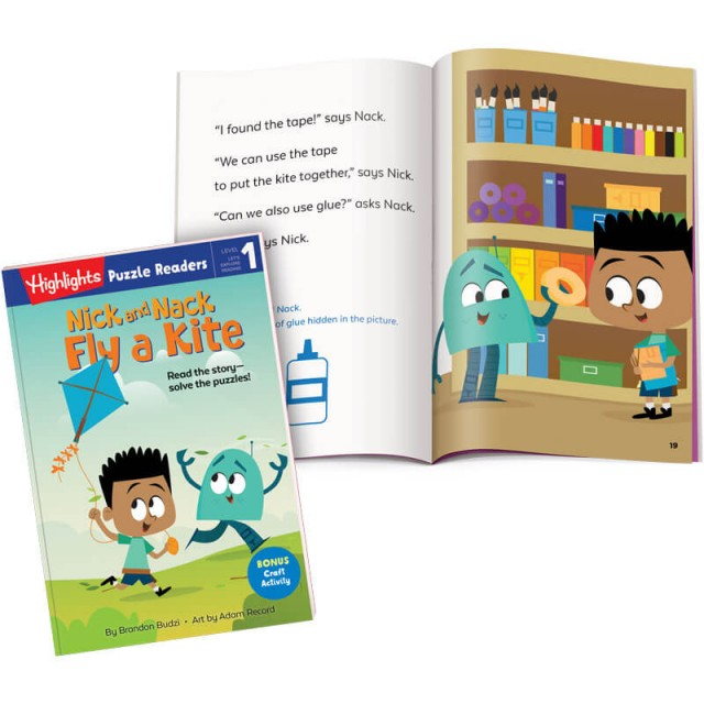 Nick and Nack book and page with story and puzzle