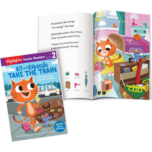 Kit and Kaboodle Take the Train book, with story page and illustration of the characters packing suitcases