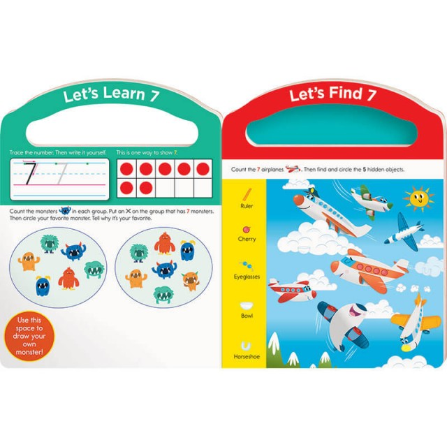 Practice pages for number 7 with counting game and Hidden Pictures puzzle