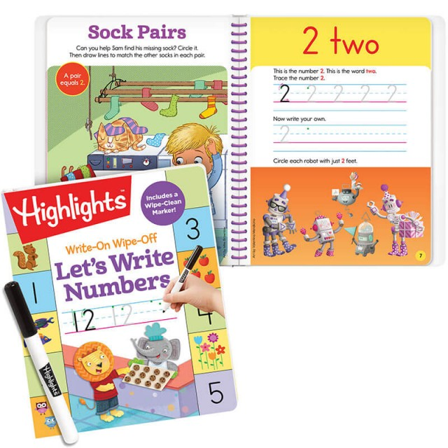 Let's Write Numbers book with dry-erase marker and interior spread