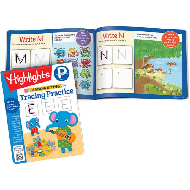 Handwriting Tracing Practice book and pages to write letters M and N