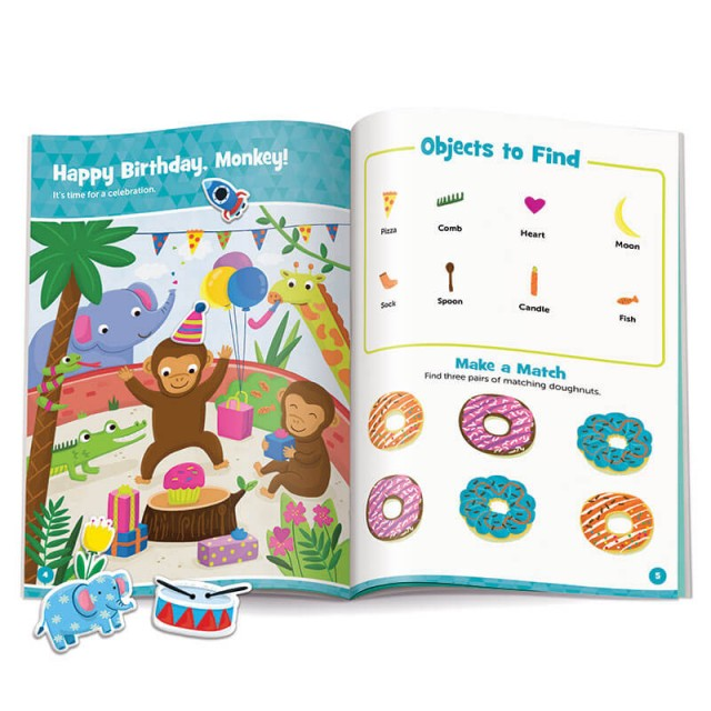 Happy Birthday, Monkey, puzzle page with stickers, and doughnut matching game