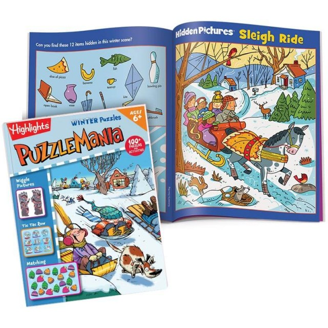 Puzzlemania Winter Puzzles book and Hidden Pictures puzzle of Sleigh Ride scene