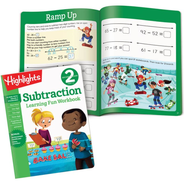 Learning Fun Workbook: Subtraction, and interior page with skateboard puzzle