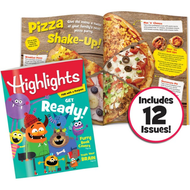 Highlights magazine and pizza recipes page