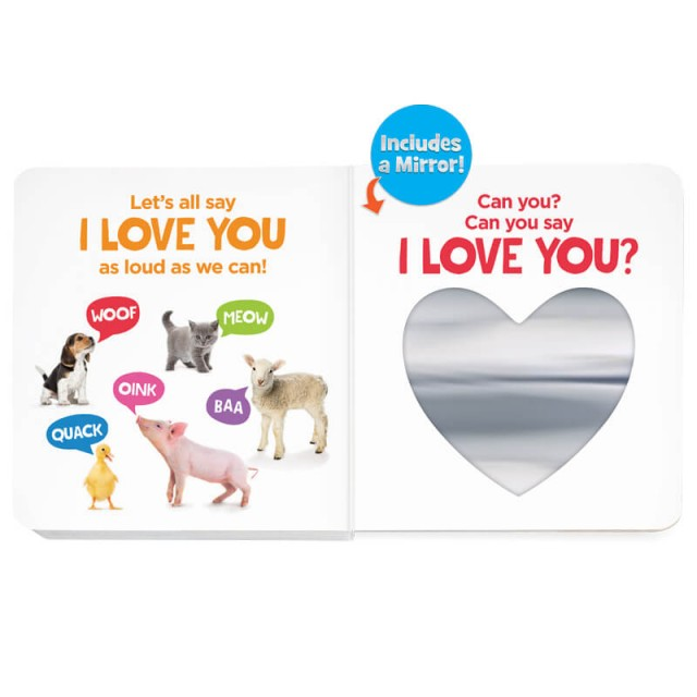 Last page with all the animals and a heart-shaped mylar mirror