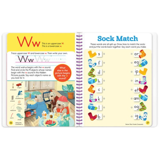 Practice page for letter W and a sock matching game