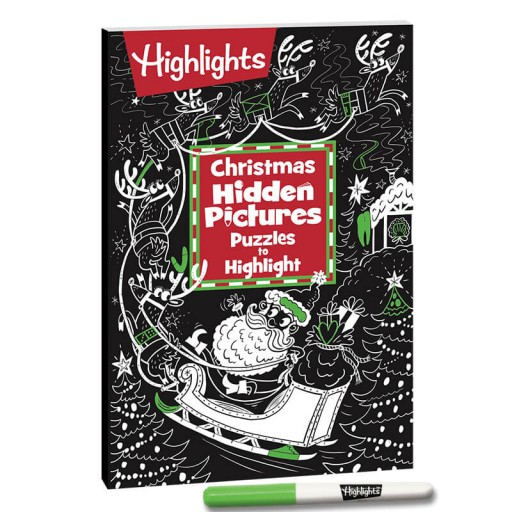 Christmas Hidden Pictures Puzzles to Highlight book and highlighter