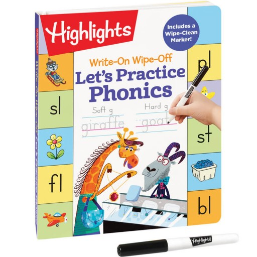 Write-On Wipe-Off Let's Practice Phonics book and dry-erase marker